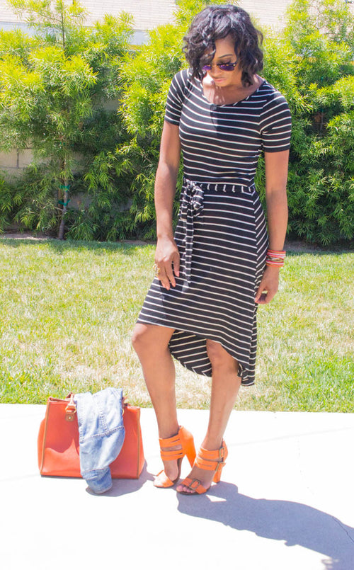Black and White Striped High-low dress.