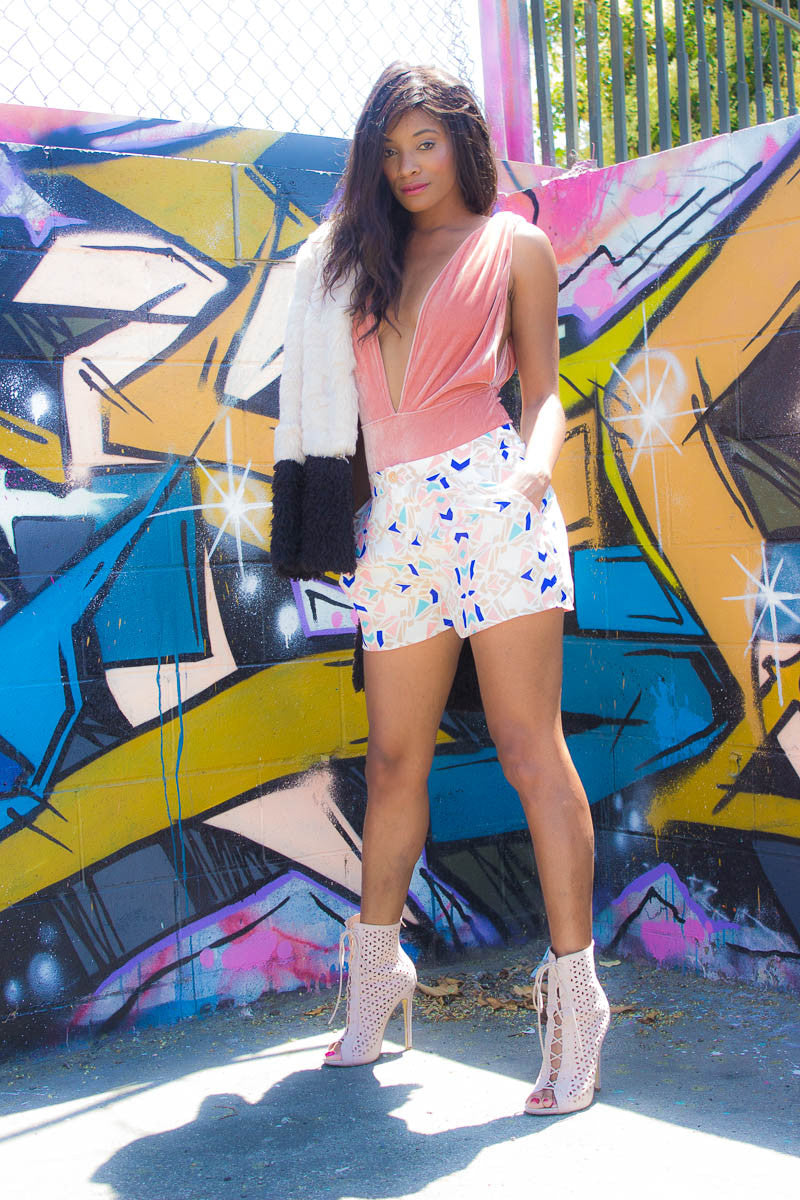 The Geometric High-Waisted Printed Shorts