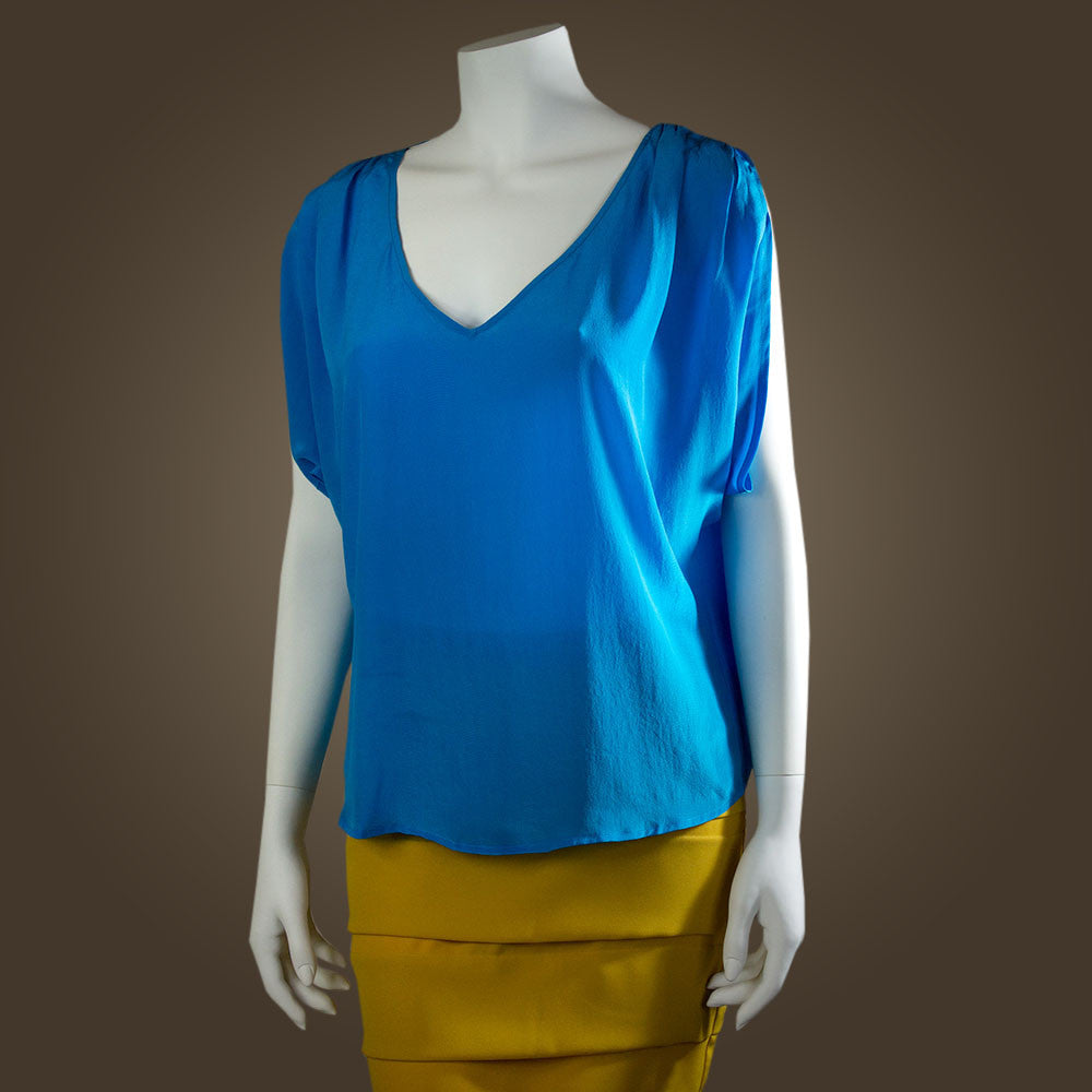 Sophia V-Neck Blouse - Teal