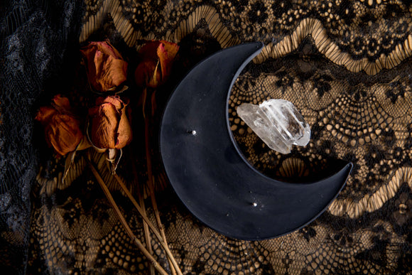 Black Crescent Moon Candle