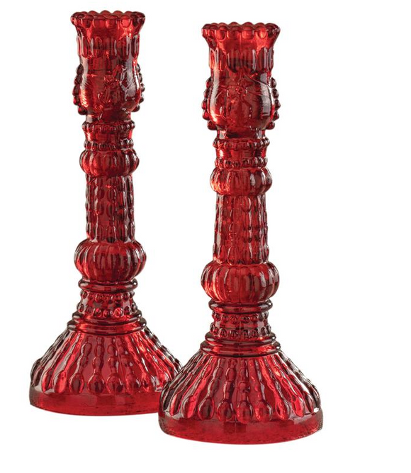 Crimson Glass Candlestick Set