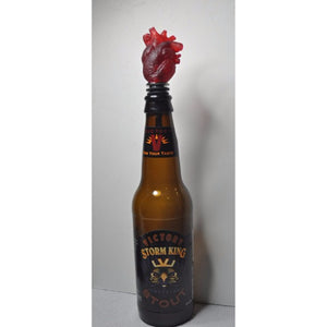 Translucent Red Heart Bottle Stopper