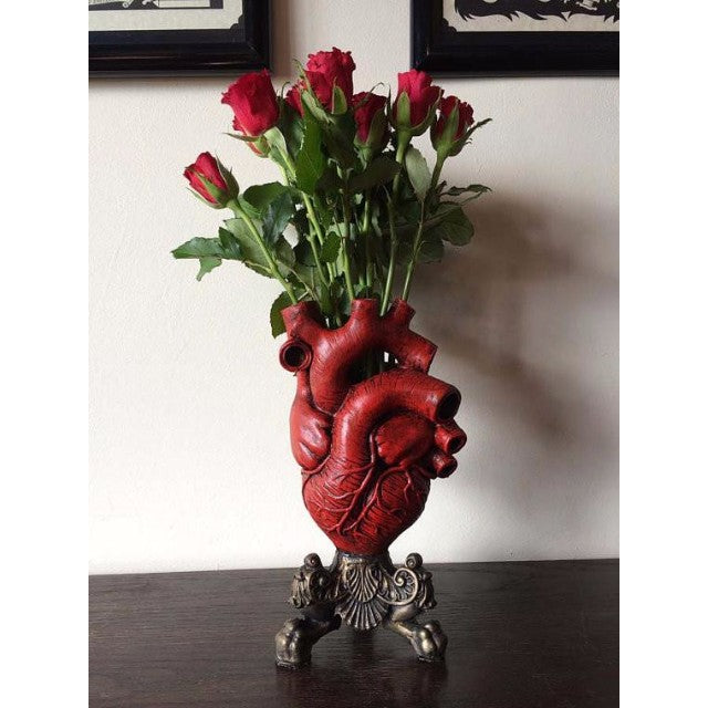 Red Anatomical Heart Vase