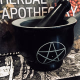 Carved Pentacle Mortar with Pestal
