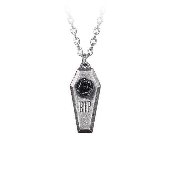 RIP Coffin Rose Necklace