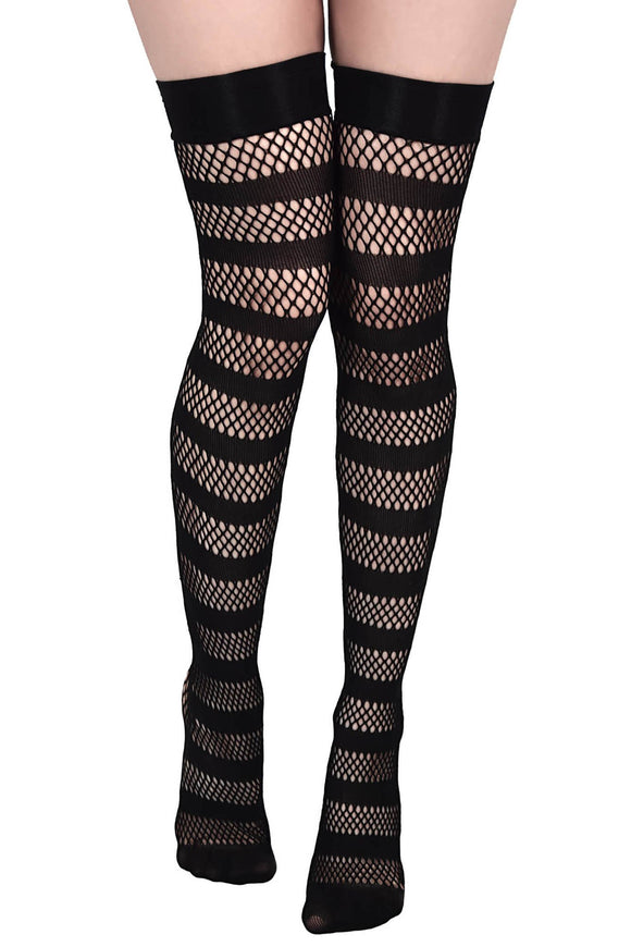 Striped Fishnet Thigh High Stockings