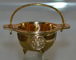 Solid Brass Pentacle Cauldron