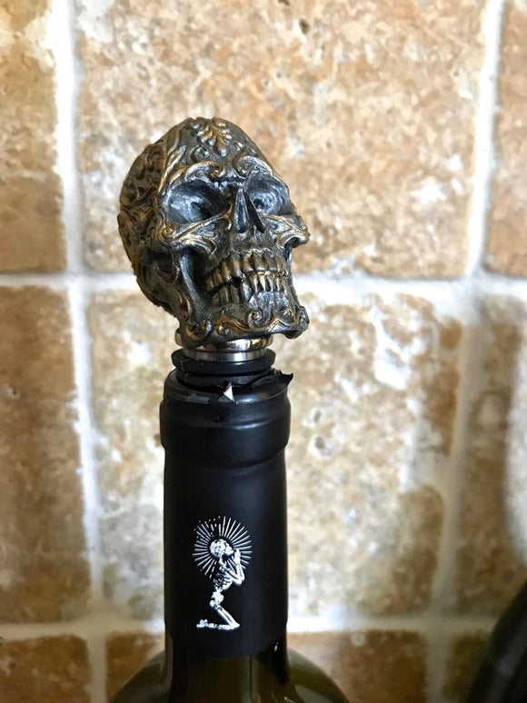 Ornate Skull Bottle Stopper