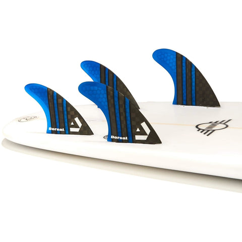 Dorsal Carbon Hexcore Thruster Surfboard Fins (3) Honeycomb FCS Base Black