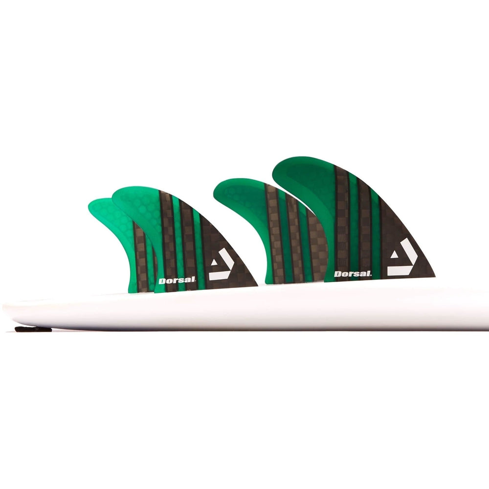 Dorsal Carbon Hexcore Quad Surfboard Fins (4) Honeycomb FCS Base Green - DORSAL® Surf Shop - Dorsalfins.com‎