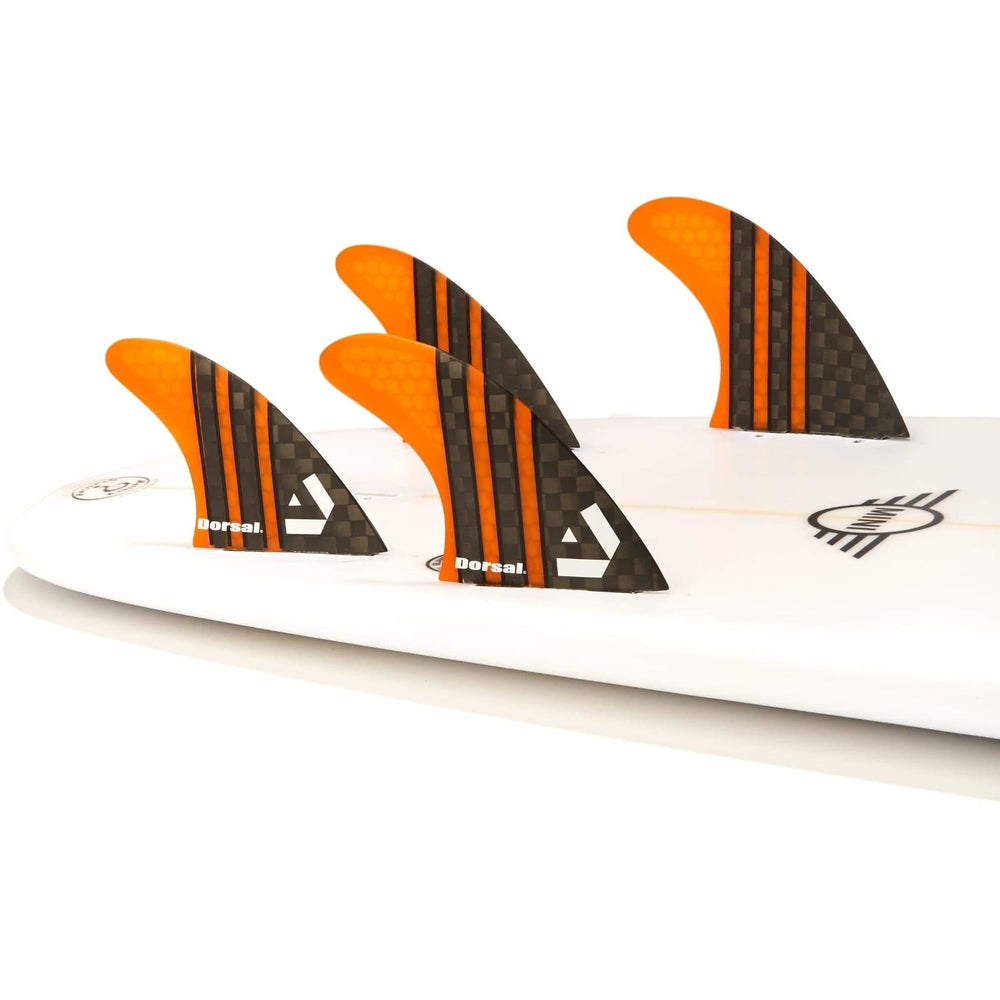 Dorsal Carbon Hexcore Quad Surfboard Fins (4) Honeycomb FCS Base Orange - DORSAL® Surf Shop - Dorsalfins.com‎