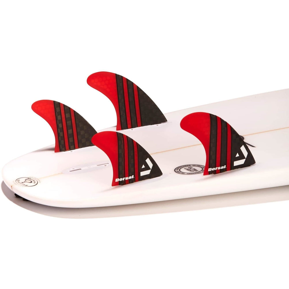 Dorsal Carbon Hexcore Quad Surfboard Fins (4) Honeycomb FCS Base Red - DORSAL® Surf Shop - Dorsalfins.com‎
