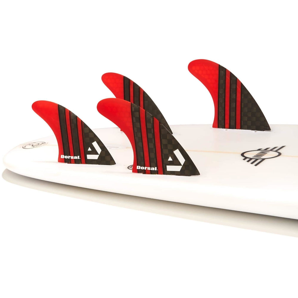 Dorsal Carbon Hexcore Quad Surfboard Fins (4) Honeycomb FCS Base Red - DORSAL?« Surf Shop - Dorsalfins.com?ÇÄ