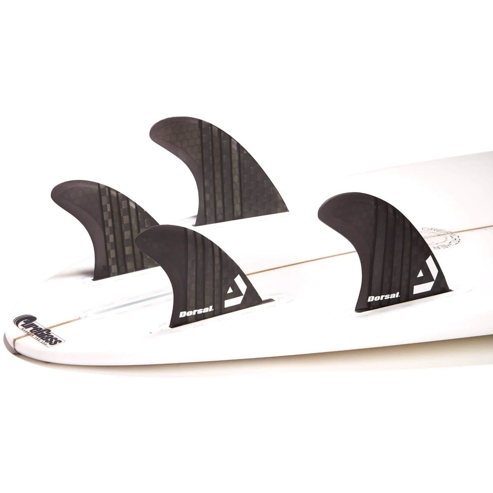 Dorsal Carbon Hexcore Quad Surfboard Fins (4) Honeycomb FUT Base Black - DORSAL® Surf Shop - Dorsalfins.com‎