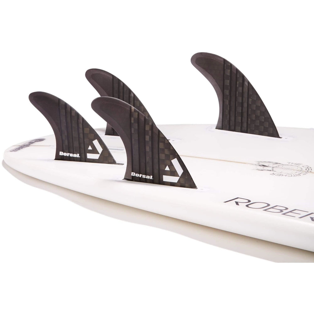 Dorsal Carbon Hexcore Quad Surfboard Fins (4) Honeycomb FUT Base Black