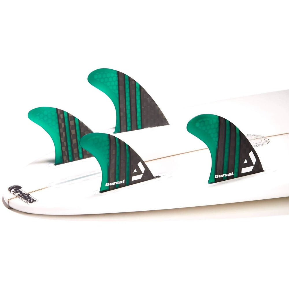 Dorsal Carbon Hexcore Quad Surfboard Fins (4) Honeycomb FUT Base Green - DORSAL® Surf Shop - Dorsalfins.com‎