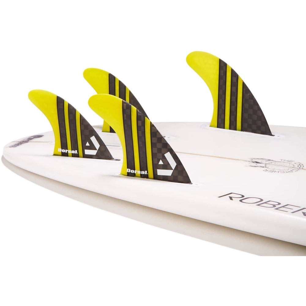 Dorsal Carbon Hexcore Quad Surfboard Fins (4) Honeycomb FUT Base Yellow - DORSAL® Surf Shop - Dorsalfins.com‎