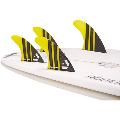Dorsal Carbon Hexcore Quad Surfboard Fins (4) Honeycomb FUT Base Yellow - DORSAL?« Surf Shop - Dorsalfins.com?ÇÄ