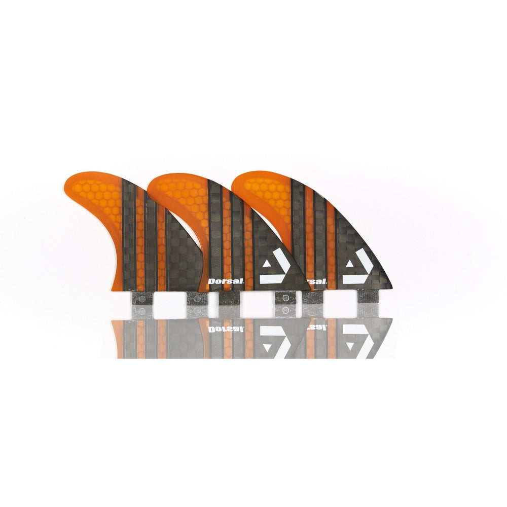 Dorsal Carbon Hexcore Thruster Surfboard Fins (3) Honeycomb FCS Base Orange - DORSAL® Surf Shop - Dorsalfins.com‎