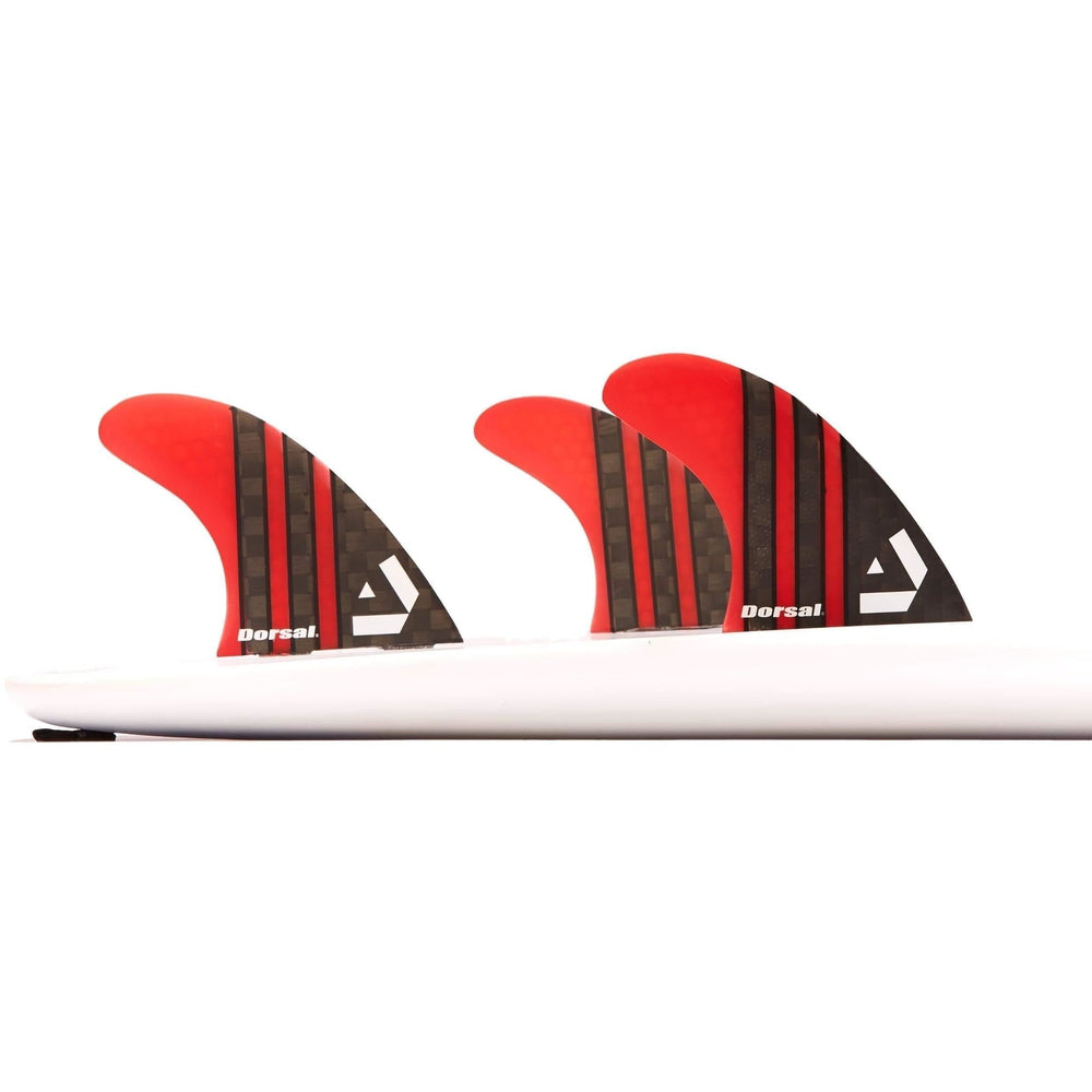 Dorsal Carbon Hexcore Thruster Surfboard Fins (3) Honeycomb FCS Base Red - DORSAL® Surf Shop - Dorsalfins.com‎