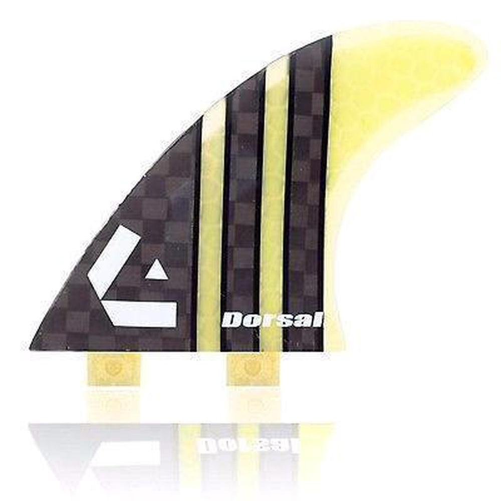 Dorsal Carbon Hexcore Thruster Surfboard Fins (3) Honeycomb FCS Base Yellow - DORSAL® Surf Shop - Dorsalfins.com‎