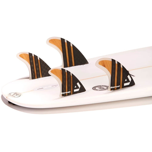 Dorsal Surfboard Fins Carbon (Bamboo) Quad Set (4) Honeycomb FCS Base