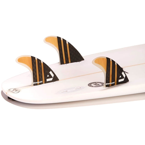 Dorsal Surfboard Fins Carbon Bamboo Thruster Set (3) Honeycomb FCS Base