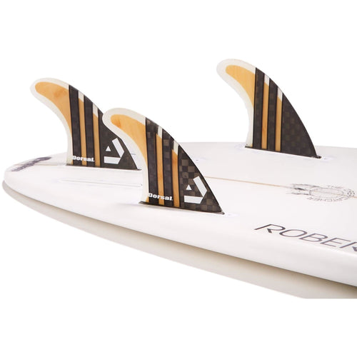 Dorsal Surfboard Fins Carbon Bamboo Thruster Set (3) Honeycomb FUT Base