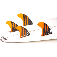 DORSAL Surfboard Fins Carbon Hexcore Quad Set (4) Honeycomb FUT Base Orange