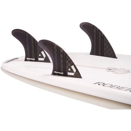 DORSAL Surfboard Fins Carbon Hexcore Thruster Set (3) Honeycomb FUT Base Black