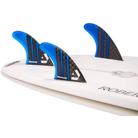 Dorsal Carbon Hexcore Thruster Surfboard Fins (3) Honeycomb FUT Base White