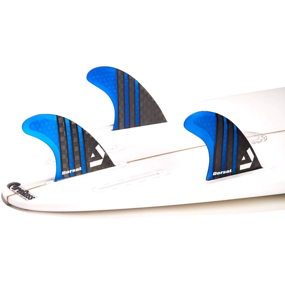 Dorsal Surfboard Fins Carbon Hexcore Thruster Set (3) Honeycomb FUT Base Blue