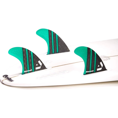 DORSAL Surfboard Fins Carbon Hexcore Thruster Set (3) Honeycomb FUT Base Green