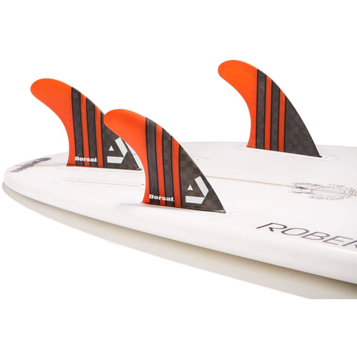 Dorsal Surfboard Fins Carbon Hexcore Thruster Set (3) Honeycomb FUT Base Orange