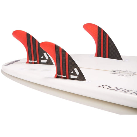 Dorsal Carbon Hexcore Thruster Surfboard Fins (3) Honeycomb FCS Base Orange