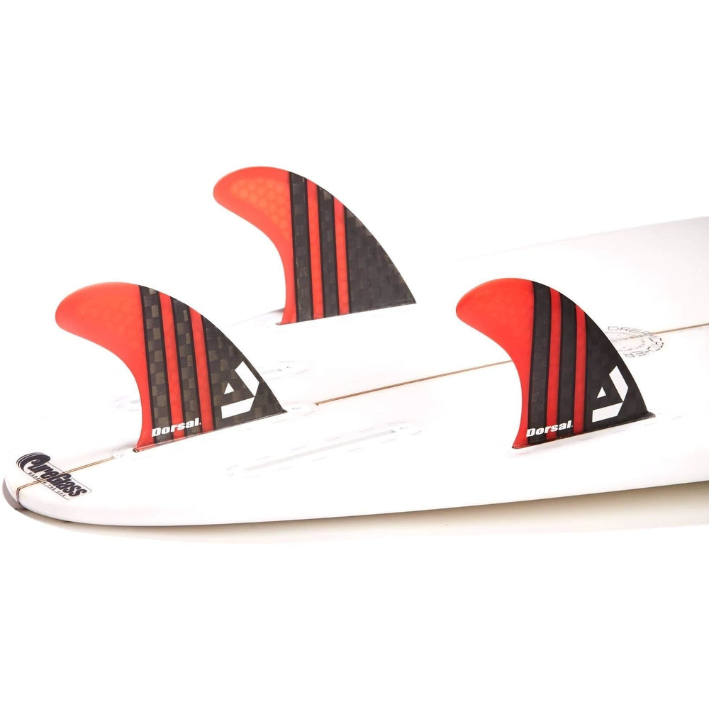 Dorsal Surfboard Fins Carbon Hexcore Thruster Set (3) Honeycomb FUT Base Red