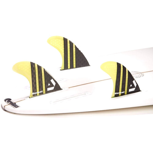 Dorsal Surfboard Fins Carbon Hexcore Thruster Set (3) Honeycomb FUT Base Yellow