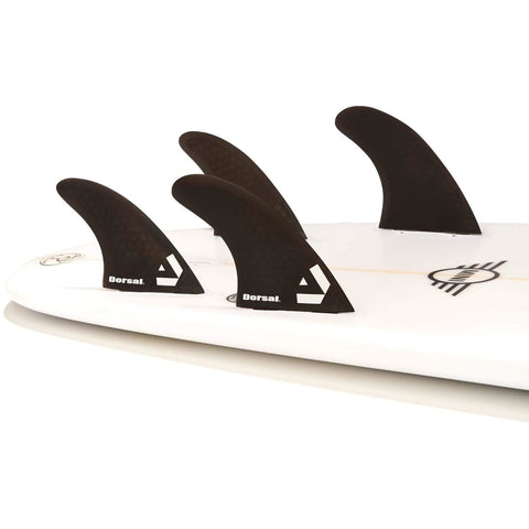 Dorsal Carbon Hexcore Quad Surfboard Fins (4) Honeycomb FUT Base Green