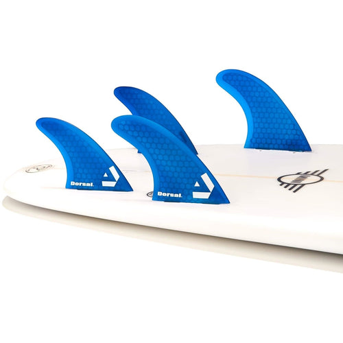 DORSAL Surfboard Fins Hexcore Quad Set (4) Honeycomb FCS Base Blue