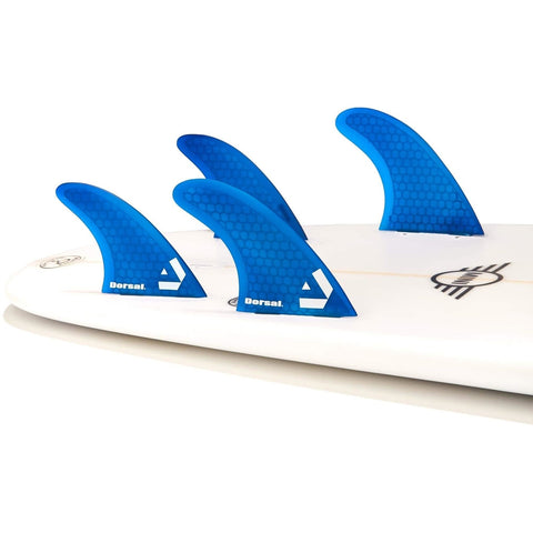 DORSAL Carbon Hexcore Quad Surfboard Fins (4) Honeycomb FUT Base Clear