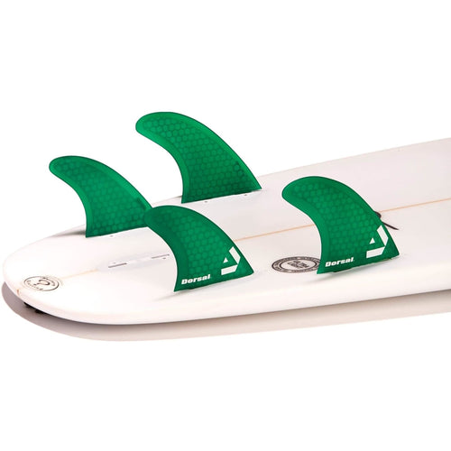 Dorsal Surfboard Fins Hexcore Quad Set (4) Honeycomb FCS Base Green