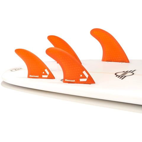 Dorsal Carbon Hexcore Quad Surfboard Fins (4) Honeycomb FUT Base Red