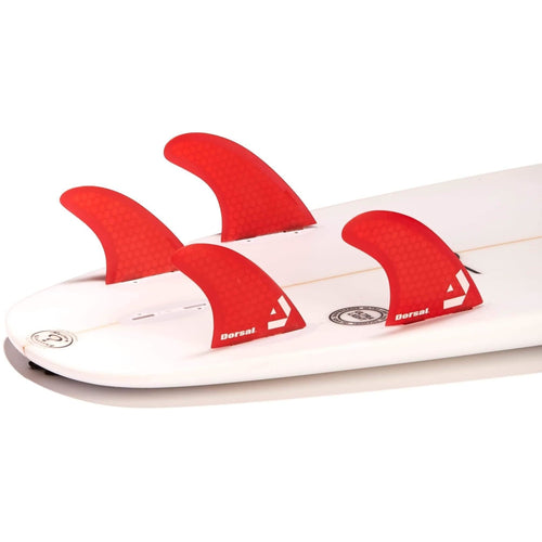Dorsal Surfboard Fins Hexcore Quad Set (4) Honeycomb FCS Base Red