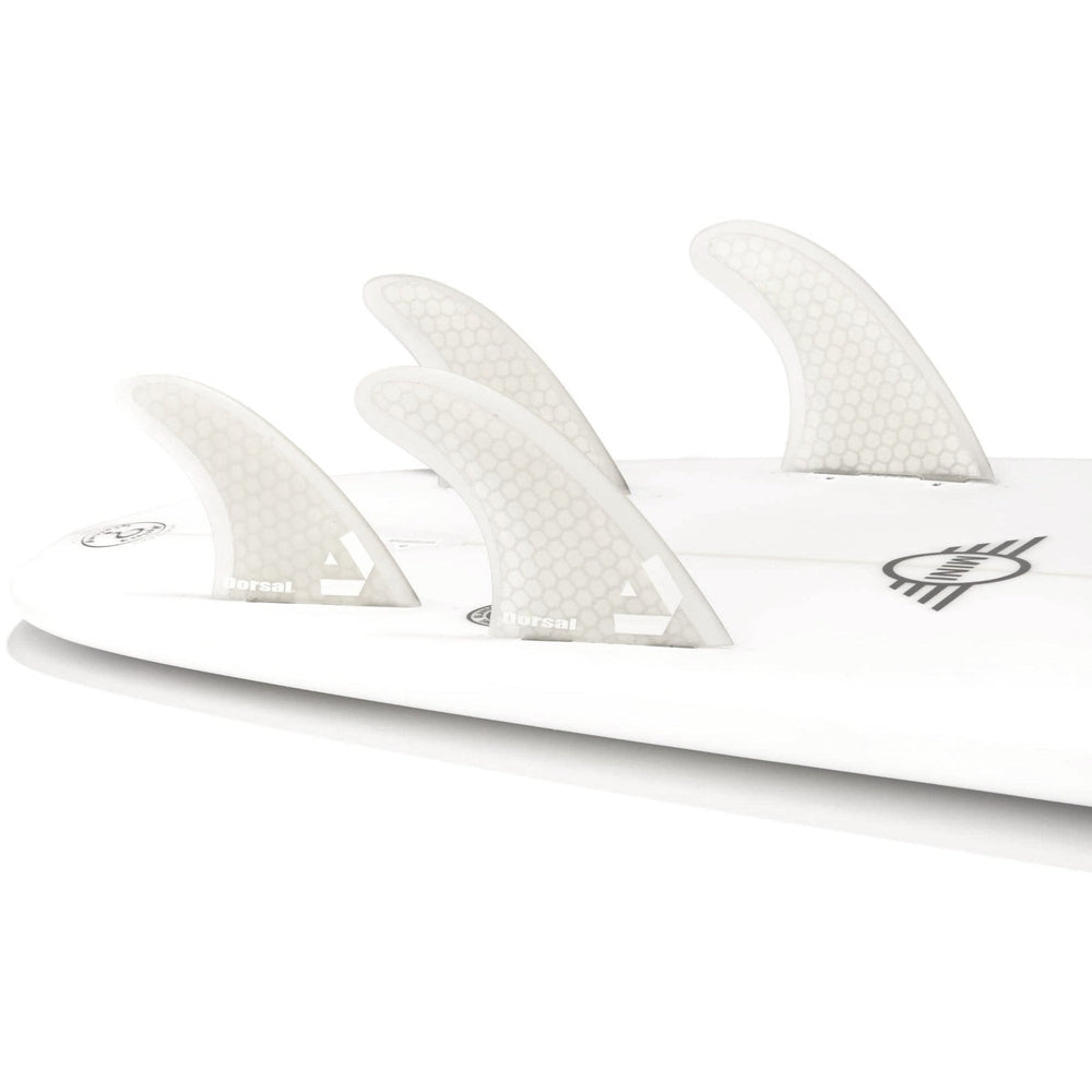 DORSAL Surfboard Fins Hexcore Quad Set (4) Honeycomb FCS Base White