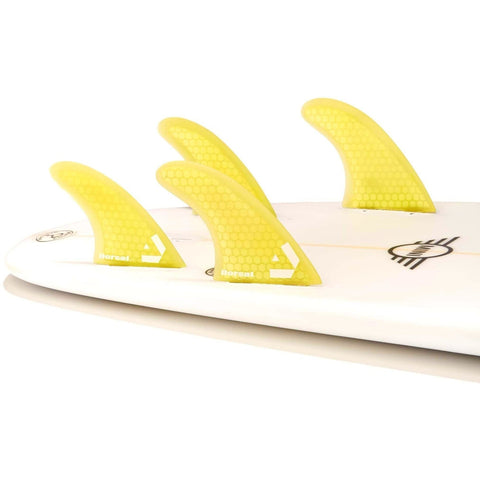 Dorsal Surfboard Fins Hexcore Thruster Set (3) Honeycomb FCS Base Yellow