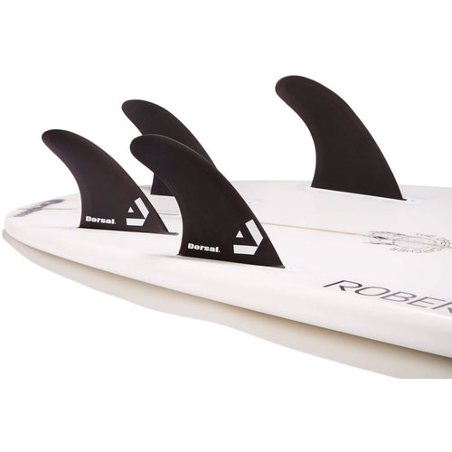Dorsal Surfboard Fins Hexcore Quad Set (4) Honeycomb FUT Base Black