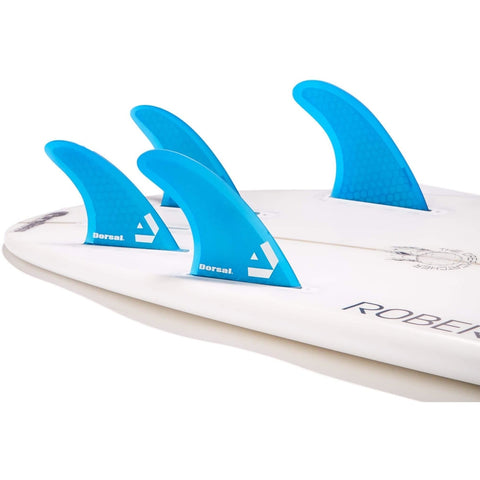 DORSAL Carbon Hexcore Quad Surfboard Fins (4) Honeycomb FUT Base Blue