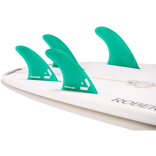DORSAL Surfboard Fins Hexcore Quad Set (4) Honeycomb FUT Base Green