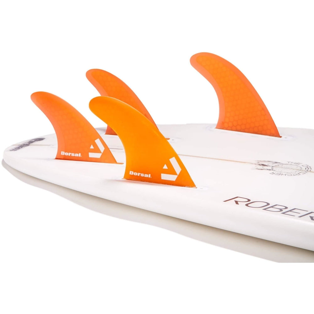 DORSAL Surfboard Fins Hexcore Quad Set (4) Honeycomb FUT Base Orange