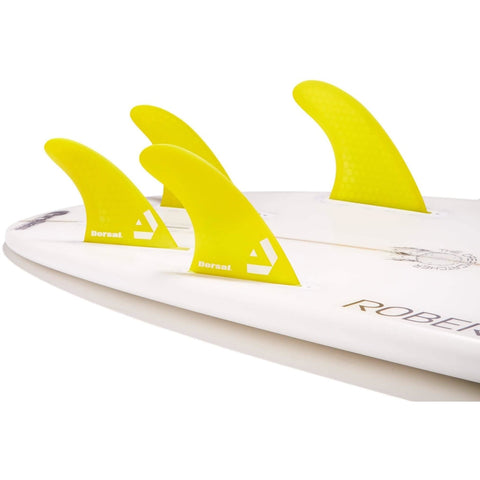 Dorsal Surfboard Fins Carbon Bamboo Quad Set (4) Honeycomb FUT Base